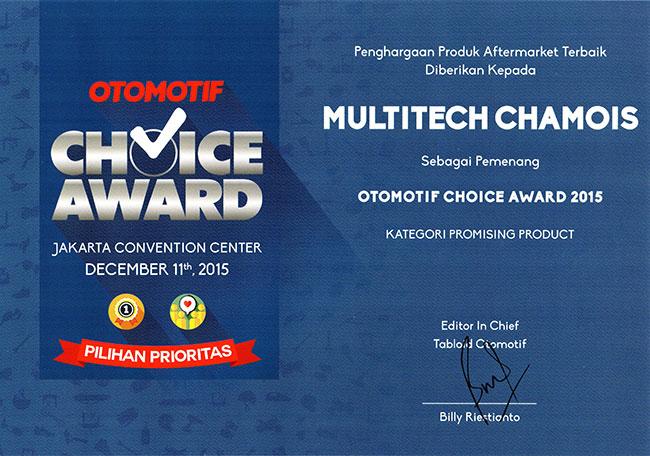 Multitech Piagam Penghargaan Otomotif Choice Award
